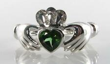 CLASSIC 9CT WG GREEN TOURMALINE CLADDAGH RING