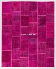 Fuchsia Pink color PATCHWORK RUG Handmade from Overdyed Vintage Turkish Carpets