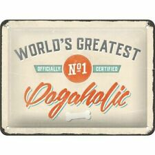 A5 Retro Embossed Tin Metal Sign WORLD'S GREATEST DOGAHOLIC Vintage Rustic NO.1