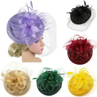 Bnaquet Elehgant Feathers Fascinators Hat Hairband Women Mesh Hair Accessories