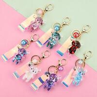 Acrylic Bear Pendant Quicksand Keychain Keyring Bag Car Key Decoration Gifts ME