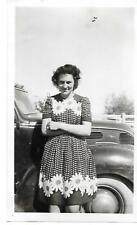 PRETTY LADY IN DRESS with Daisies by Old Car Vintage Snapshot Photo #1356