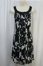 Donna Ricco New York Dress Sz 10 Black Ivory Sleevless Pleated Business Dinner