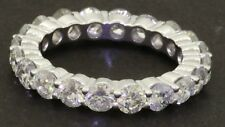 Heavy Platinum 4.0CT diamond 20-stone shared prong eternity band ring size 6.75