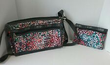 LeSport Sac Floral Nylon Shoulder Messenger Bag & Cosmetic Bag (A0282)