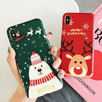 For iPhone XS Max XR X 8 7 6 6s Plus Christmas Elk Snowman Silicone Case Cover