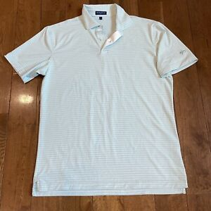 """Mens Peter Millar Crown Crafted Polo Shirt Blue White Stripes """"1913"""" sz M"""