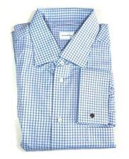 ERMENEGILDO ZEGNA Mens Blue Aqua Tattersall Check French Cuff Dress Shirt 18 46