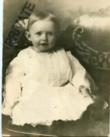 """Vintage Matted Photo - 9 1/2"""" x 7 1/2"""" - Cute Baby with Half Smile - Nice Cond"""