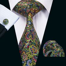 USA Classic Men's Tie Forest Green Necktie Set Jacquard Silk Yellow Tie C-1227