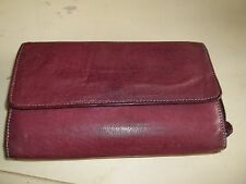 Burgundy Genuine Leather Woman's Organizer Wallet Clutch Purse