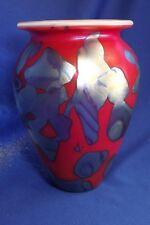 "ROBERT EICKHOLT RED ART GLASS 7""VASE- IRIDESCENT ABSTRACT FORMS SIGN & DATE 2003"