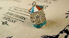 Caballo de carrusel encanto de plata y esmalte joyas encanto colgante suministra C204