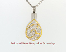 Gold & Silver Teardrop Pendant Cremation Jewelry Keepsake Urn Necklace & Funnel