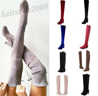 US LADIES OVER THE KNEE HIGH FLAT WINTER FAUX SUEDE THIGH WOMEN BOOTS SHOES SIZE
