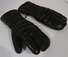 Women's 3 Finger Gloves Mittens SNOWMOBILE Black Leather Winter Thick SZ MEDIUM