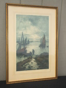 "Alphonse Lafitte Colour Artist's Proof Etching Signed  ""Return Of The Fishermen"""