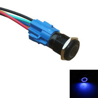 16mm 12V blaues Licht Druckknopf Kippschalter schwarz Shell Metallfassung WYS