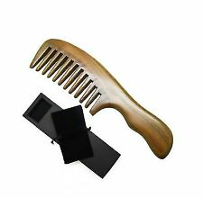 Meta-c Wave Handle Natural Green Sandal Wood Comb Wide Tooth