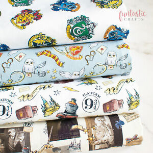 Licensed Harry Potter Fabric 100% Cotton Material Hogwarts Train Hedwig Crafts