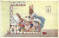 Margaret Tempest Rabbit Fantasy Sick in Bed GRUEL Medici Pkt 86 Postcard