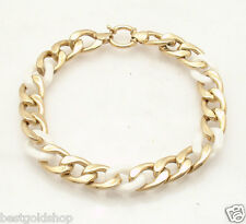 "Unique 8"" White Agate Gemstone Curb Cuban Bracelet REAL 14K Yellow Gold"