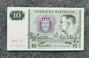 SWEDEN 10 KRONOR 1977 UNC