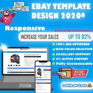 Ebay Html Listing Template Auction Professional Mobile Responsive Design 2021