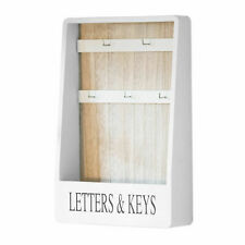 Letter Rack Holder 5 Key Hooks Holder Keys Letters White Wooden Rack Storage