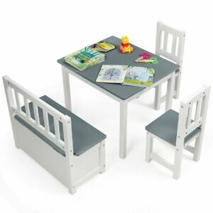 4 PC Kids Wood Table & Chairs Set - Gray