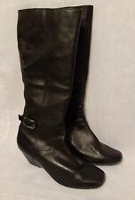 Women's Boots Size 8 Diana Ferrari Supersoft Black Leather Knee High Wedge Heel