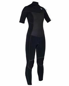 $300 Womens Hurley Phantom 202 Short Sleeve Wetsuit Black 6 8 10 12 +Garment Bag