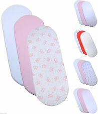 BabyPrem 76 x 28cm  3 x Baby Girls Fitted Moses Basket Pram Mattress Sheets