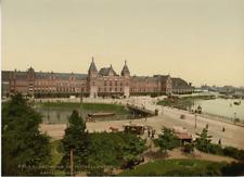 Amsterdam. Het Central Station.  Photochrome original d'époque, Vintage pho