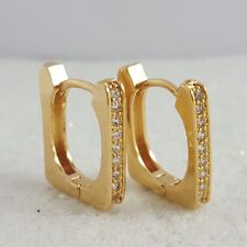 18K Gold Filled Stylish Italian Petite Diamond Oblong Hoops Earrings 20mm