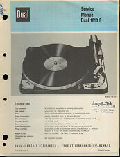 Original Factory Dual 1010 F Turntable Service Manual Record Player Repair
