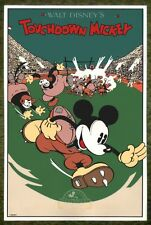 "Mickey Mouse Touchdown Mickey 1989 Disney French Serigraph Print 23.5"" x 15.75"""