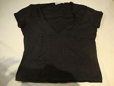 "Diab'Less Diab Less Womens Black Stretch Cap Sleeve V Neck T Shirt Top Bust 15"""