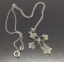 Vintage 925 R China Sterling Silver Inlaid Cross Pendant And Chain
