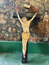 More details for carved mid 20th century jesus on the cross crucifix inri corpus christi vintage