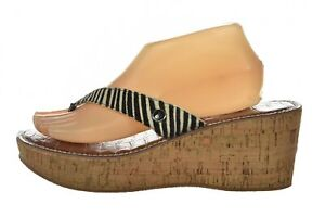 Sam Edelman Romy Womens Shoes Size 10 M 42 Brown Ivory Flip Flop Wedge Sandals