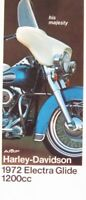 1972 Harley-Davidson Electra Glide 1200 cc ORIGINAL Brochure, Xlnt Motorcycles