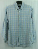 CANALI Sportswear men's L Button Shirt Check Plaid Blue Long Sleeve Large ITALY