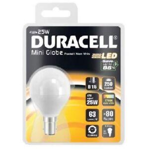 4w = 25w LED Golf Ball Small Bayonet SBC Light Bulb Warm White 25 Watt Duracell