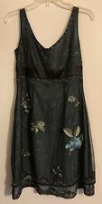 Adrianna Papell Petite Black Sleeveless Dress with Blue Underlay Size 8P