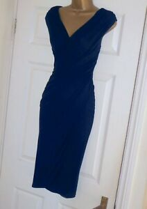 Phase Eight navy stretch ruched pencil wiggle evening party dress size 10