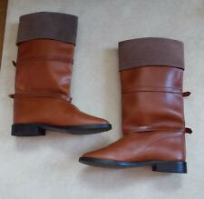 VINTAGE RIDING BOOTS GENUINE LEATHER CUFFED STRAP & BUCKLE ACCENTS SIZE 8
