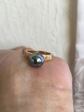 Gold Hamilton Gold Hawaiian Scroll  Ring Band w/Blue Shell Pearl - Sz 9