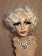 "Drag Queen Wig ""Marilyn"" Platinum White Blonde Wavy Short"