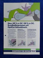 0335) Deutz-Fahr Rundballenpressen GP 2.30 2.50 OC - Prospekt Brochure 02.1992